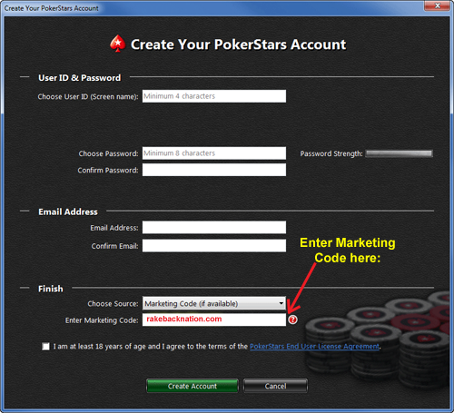 PokerStars Codice Marketing